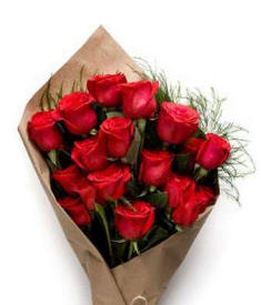 Red Roses Wrapped In Brown Paper For Valentines Day $74.99