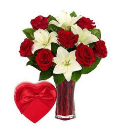 Red Roses Mixed With White Lilies and A Box Of Chocolate My Amour Bouquet $39.99 In A Red Box