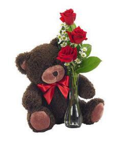 Rose Bud Vase With Teddy Bear $39.99