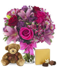 Roses & Lilies With Chocolate & Bear $64.99