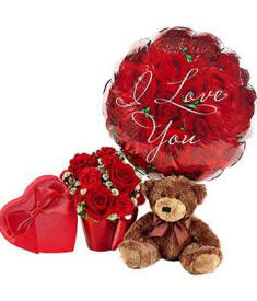 Valentines Day Roses With I Love You Balloon and Teddy Bear $64.99