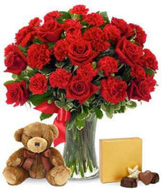 Valenties Day Red Roses and Carnations Delivered Today